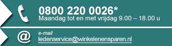 Winkelenensparen | Contact : 0800 220 0026